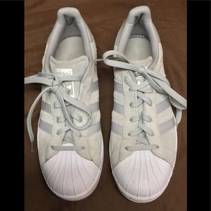 Adidas Superstars Gray Suede Sneakers